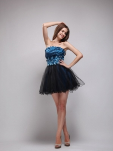 Navy Blue and Black A-Line / Princess Strapless Mini-length Taffeta and Organza Rhinestone Prom Dress