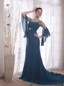 Peacock Green Column / Sheath Square Brush /Sweep Chiffon Prom Dress