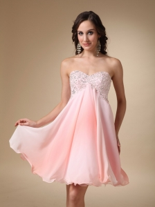 Pink A-line Sweetheart Mini-length Chiffon Beading Prom / Homecoming Dress
