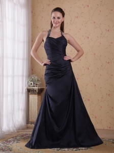 Popular A-Line / Princess Halter Floor-length Taffeta Beading Prom Dress
