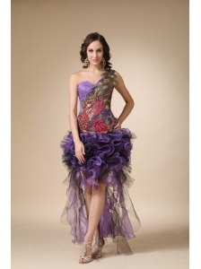 Purple Column One Shoulder High-low Satin and Organza Appliques Homecoming Dress