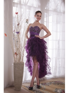 Purple Column Sweetheart High-low Organza Beading Prom / Cocktail Dress