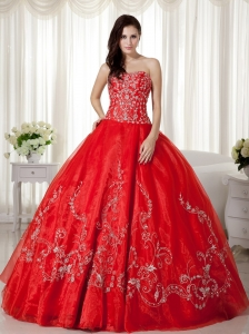 Red Ball Gown Sweetheart Floor-length Organza Beading and Embroidery Quinceanera Dress