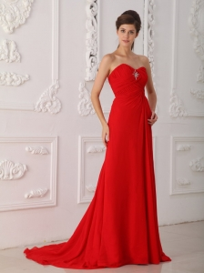 Red Column / Sheath Sweetheart Sweep / Brush Train Chiffon Beading Prom Dress