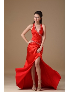 Red Column Halter Brush Train Taffeta Beading Prom Dress