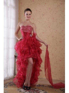 Red Column Sweetheart High-low Organza Beading Prom / Cocktail Dress