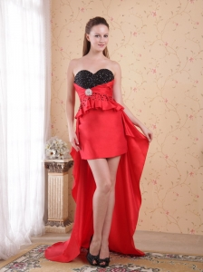 Red and Black Column / Sheath Sweetheart High-low Beading Taffeta Prom Dress