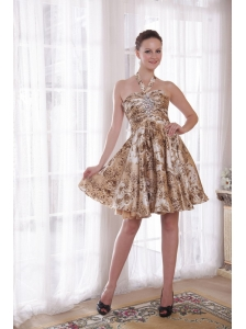 Sexy A-Line / Princess Halter Knee-length Print Beading Prom / Cocktail Dress