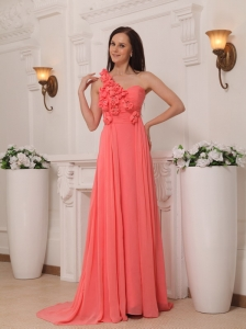 Watermelon Empire One Shoulder Brush Train Chiffon Handle Flowers Prom / Pageant Dress