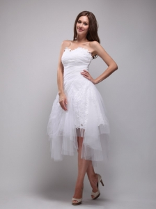 White A-Line / Princess Strapless Knee-length Lace and Tulle Ruch Prom / Homecoming Dress