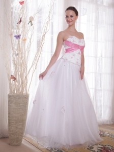 White A-Line / Princess Sweetheart Floor-length Tulle and Taffeta Beading and Rhinestones Prom / Evening Dress