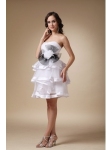 White A-line Strapless Mini-length Organza and Satin Hand Made Flower Bridesmaid Dress
