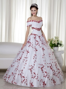 White and Red Ball Gown Off The Shoulder Floor-length Taffeta and Organza Embroidery Quinceanera Dress