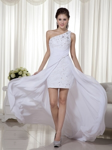 White Column One Shoulder High-low Chiffon Beading Prom Dres