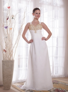 White Empire V-neck Brush Train Chiffon Beading and Rhinestones Prom / Evening Dress
