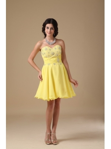 Yellow A-line Sweetheart Mini-length Chiffon Beading Prom Dress