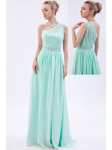 Apple Green Empire One Shoulder Floor-length Chiffon Beading Homecoming Dress