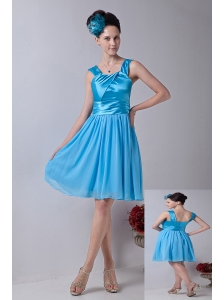 Sky Blue Empire Straps Knee-length Chiffon Cocktail Dress