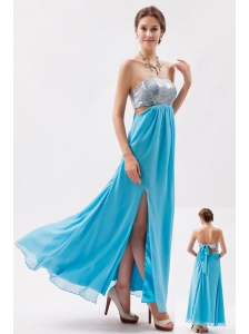 Aqua Empire Strapless Ankle-length Chiffon and Sequin Evening Dress