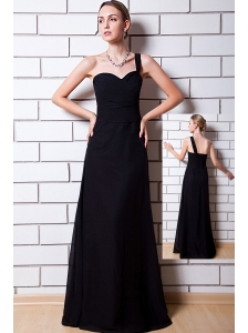 Black Column One Shoulder Floor-length Chiffon Bridesmaid Dress