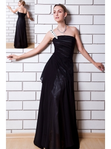 Black Empire One Shoulder Floor-length Chiffon Beading Evening Dress