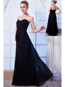 Black Empire Sweetheart Floor-length Chiffon Ruch Bridesmaid Dress