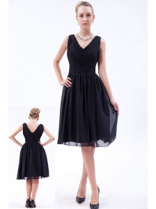 Black Empire V-neck Knee-length Chiffon Ruch Bridesmaid Dress