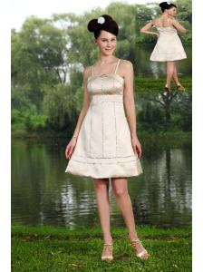 Champagne A-line Straps Mini-length Taffeta Beading Cocktail Dress