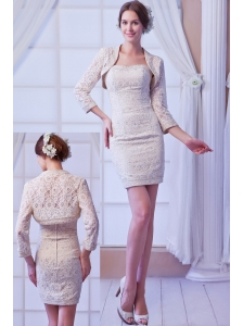 Champagne Column Strapless Mini-length Lace Beading Mother Of The Bride Dress
