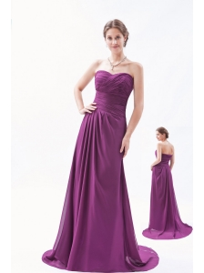 Dark Purple Empire Sweetheart Brush Train Chiffon Ruch Bridesmaid Dress