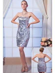 Gray Column Strapless Mini-length Sequin Beading Cocktail Dress