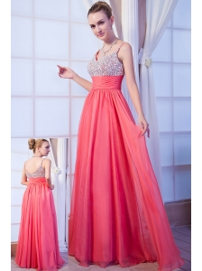 Hot Pink Empire Straps Brush Train Chiffon Beading Homecoming Dress