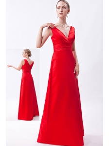 Red Column V-neck Floor-length Taffeta Ruch Bridesmaid Dress