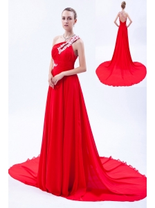 Red Empire One Shoulder Court Train Chiffon Appliques Homecoming Dress