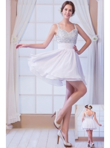 White A-line Straps Mini-length Chiffon Beading Cocktail Dress