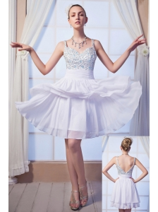 White Empire Straps Mini-length Chiffon Beading Homecoming Dress