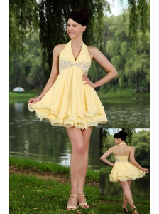 Light Yellow Empire Halter Mini-length Chiffon Beading Cocktail Dress
