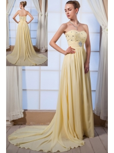 Light Yellow Empire Sweetheart Brush Train Chiffon Beading Homecoming Dress