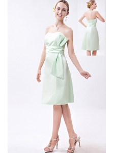Apple Green Column Strapless Mini-length Taffeta Ruch Bridesmaid Dress