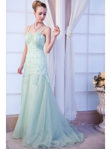 Apple Green Empire Straps Brush Train Organza Appliques Homecoming Dress