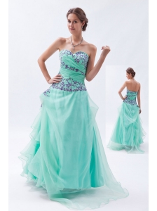 Apple Green Empire Sweetheart Prom Dress Embroidery with Beading Floor-length Organza