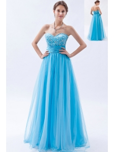 Baby Blue A-line / Princess Sweetheart Prom Dress Tulle Beading Floor-length