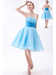 Baby Blue A-line Strapless Knee-length Organza Ruch Bridesmaid Dress
