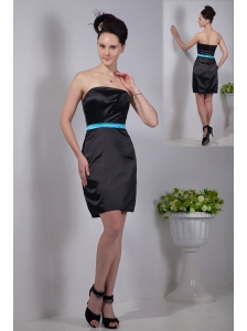 Black Column Mini-length Strapless with Sashes Bridesmaid Dress