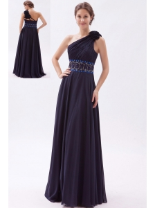 Black Empire One Shoulder Prom Dress Chiffon Beading Floor-length