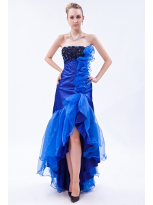 Royal Blue Mermaid Strapless High-low Prom Dress Organza Appliques