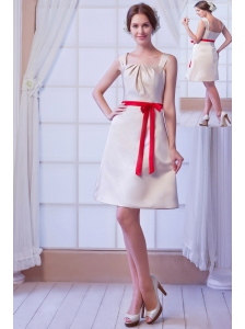 Champagne A-line Square Mini-length Satin Bow Bridesmaid Dress