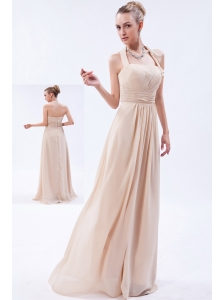 Champagne Empire Halter Floor-length Chiffon Ruch Bridesmaid Dress