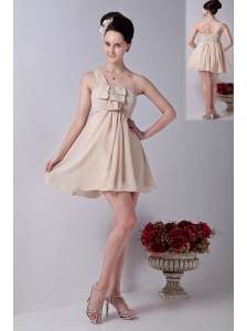 Champagne One Shoulder Mini-length Chiffon Ruch Bridesmaid Dress
