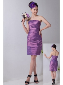 Lavender Column Strapless Mini-length Taffeta Bridesmaid Dress
